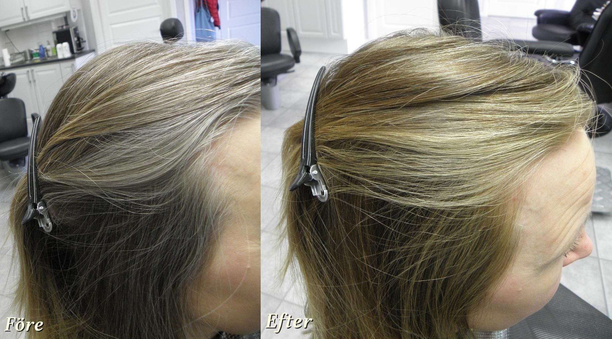 färga utväxt grått hår