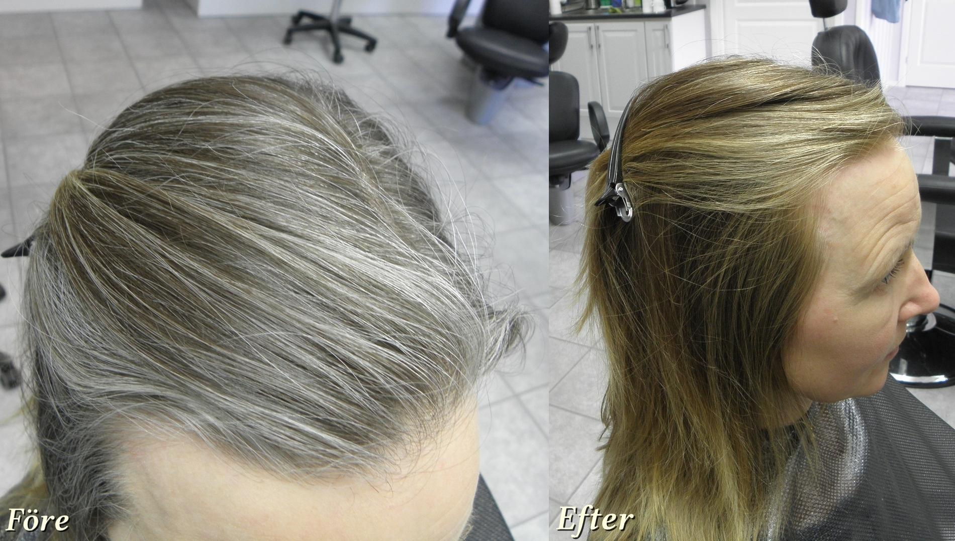grått hår efter färgning
